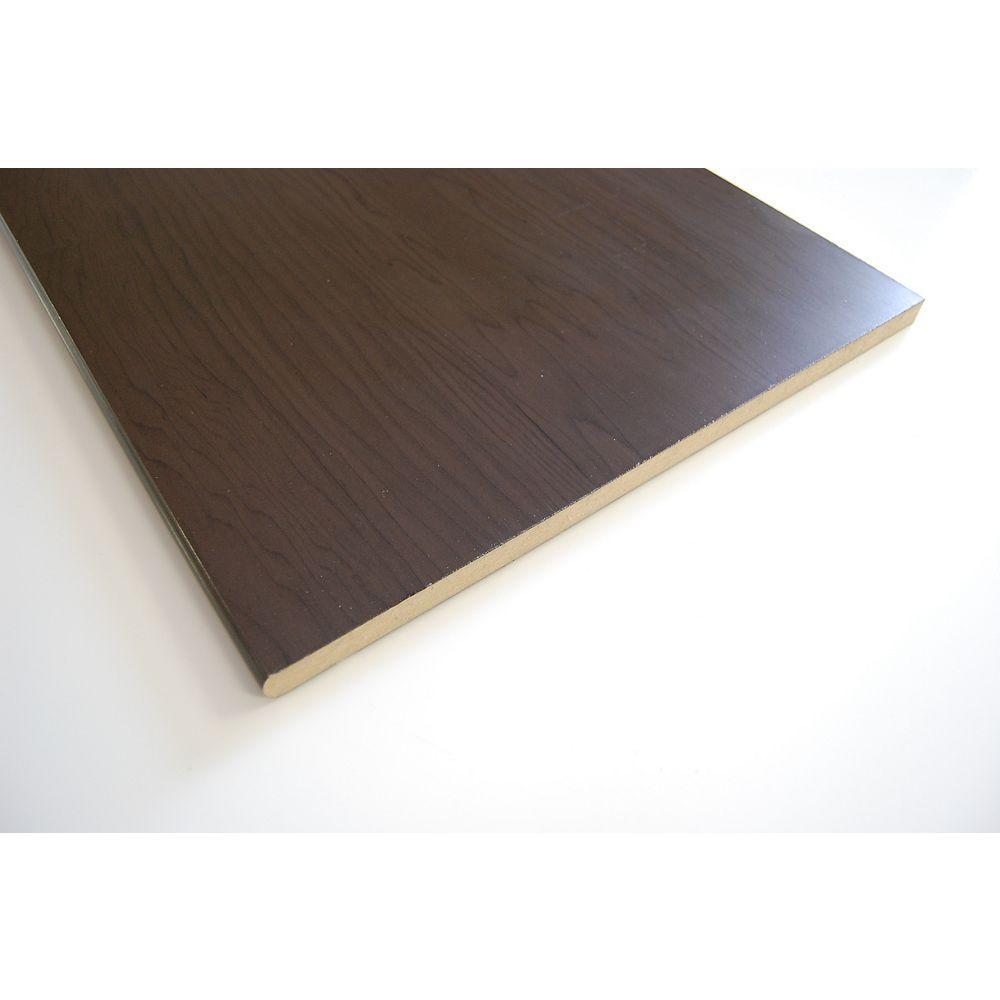 Okaply Tablette couleur chocolat en MDF à bord arrondi 5/8po x 15-1/4po x 96po