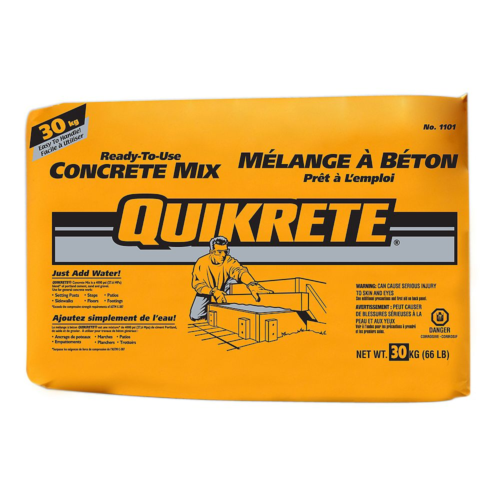 Quikrete 30kg Ready To Use Concrete Mix The Home Depot Canada