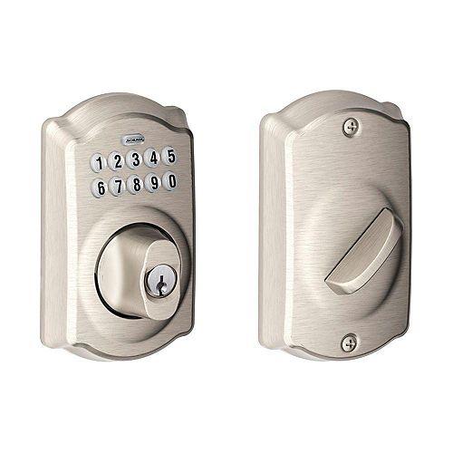 Camelot Satin Nickel Electronic Deadbolt Keyless Entry Keypad Rated AAA