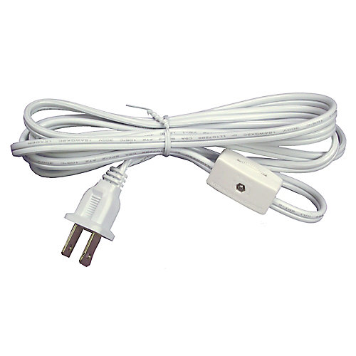 White Lamp cord with Switch - 6 Feet