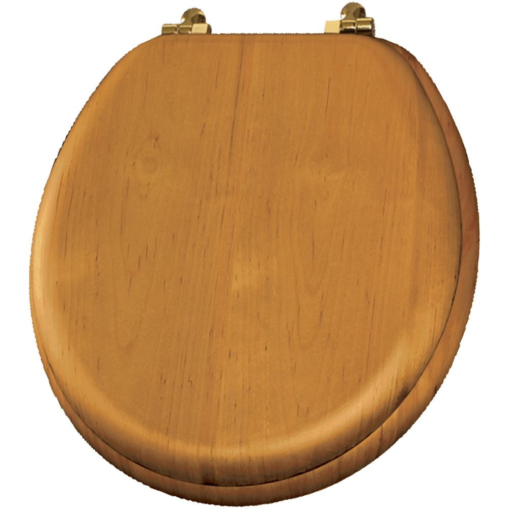 Bemis Natural Reflections Round Wood Veneer Toilet Seat With Brass Hinge In Natural Oak The Home Depot Canada