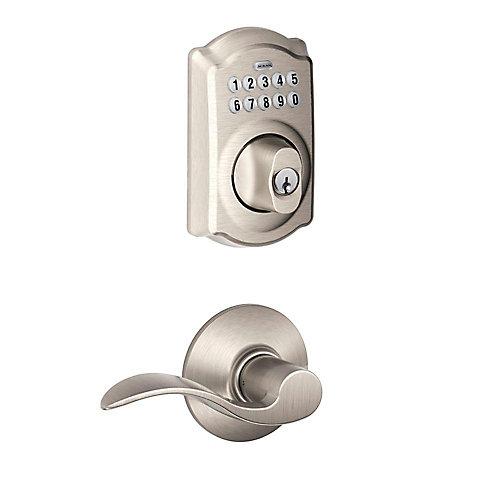 Camelot Satin Nickel Deadbolt Keyless Entry Keypad Door Lever Handleset