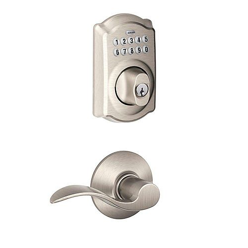 Accent Satin Nickel Keyless Keypad Electronic Deadbolt and Lever with Century Trim Rated AAA