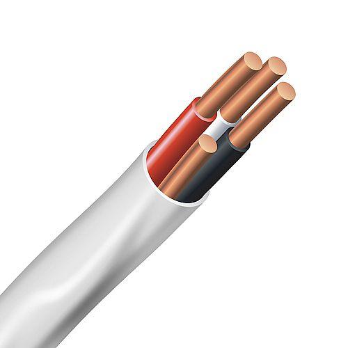 Câble électrique – fils cuivre calibre AWG 14/3 - Romex SIMpull NMD90 14/3 blanc - 75M