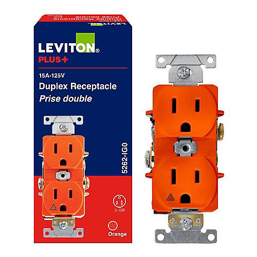 Spec Grade Duplex Receptacle, Orange