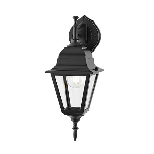100W 1-Light Black Reversible Outdoor Wall Lantern with Clear Bevelled Glass