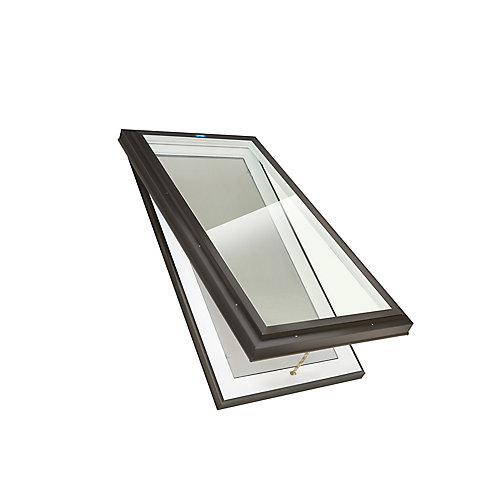 2ft x 4ft Venting Curb Mount Double Glazed Clear Glass Skylight with Black Frame
