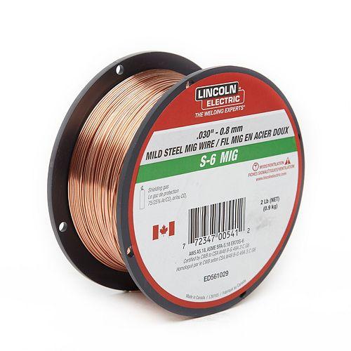 ".030"" S-6 MIG Wire -2lb Spool"
