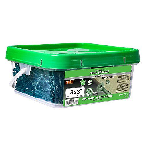 #8 x 3-inch Square Drive Flat Head Deck Screw UNC in Green - 1000pcs