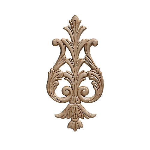 Arabesque en bois blanc, gaufré en acanthe suspendu 9-3/8 po X 4-5/8 po - 1 pièce par emballage