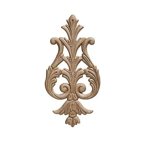 Ornamental Mouldings Embossed Acanthus Drop Ornament 9-3/8 x 4-5/8