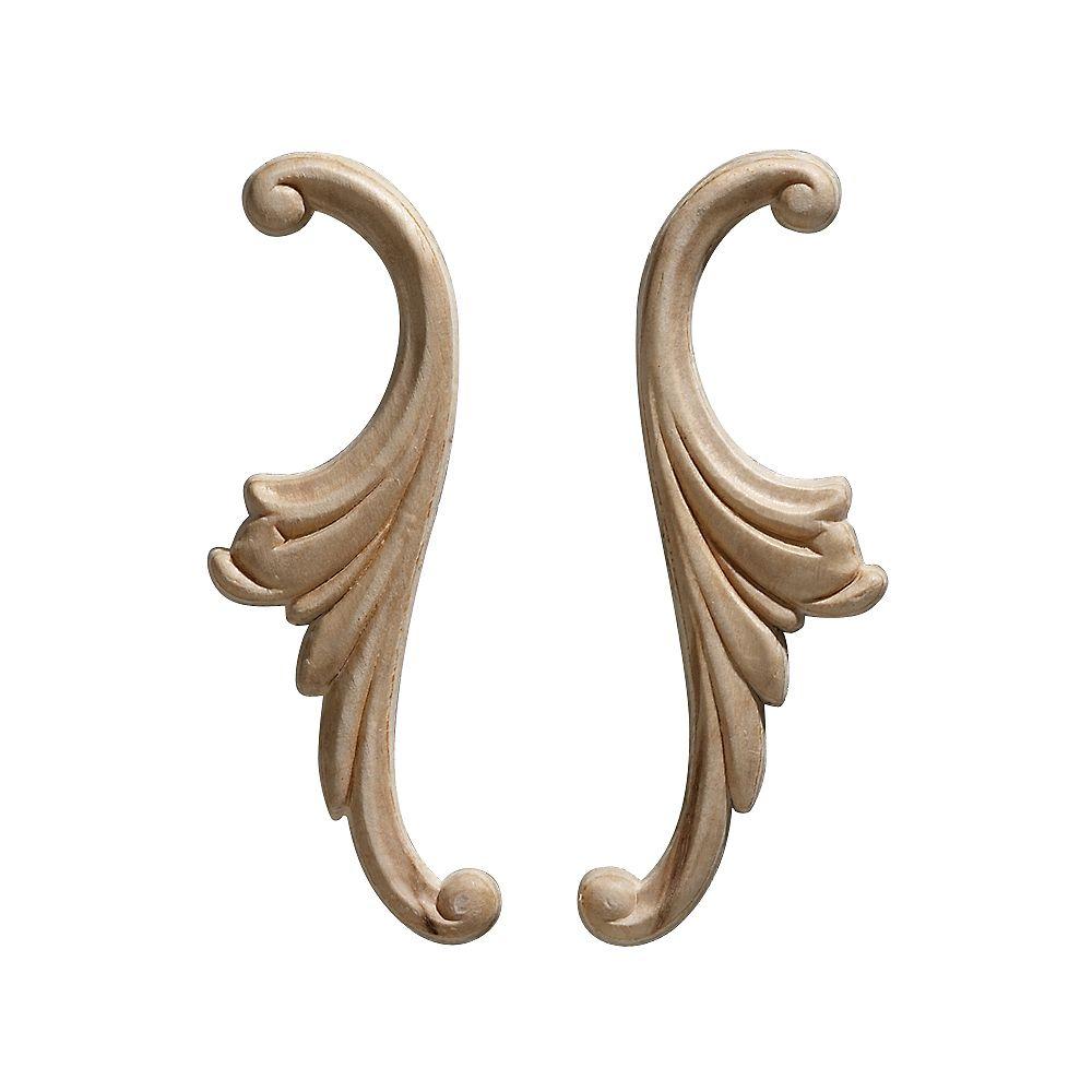 Ornamental Mouldings Embossed Acanthus Scroll Wood Ornament 1-3/4 x 5-1/4 - 1 Pair Per Card