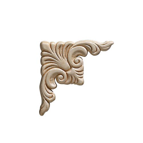 Arabesque en bois blanc, coin, gaufré en acanthe 3-3/4 po X 3-3/4 po - 2 pièces par emballage