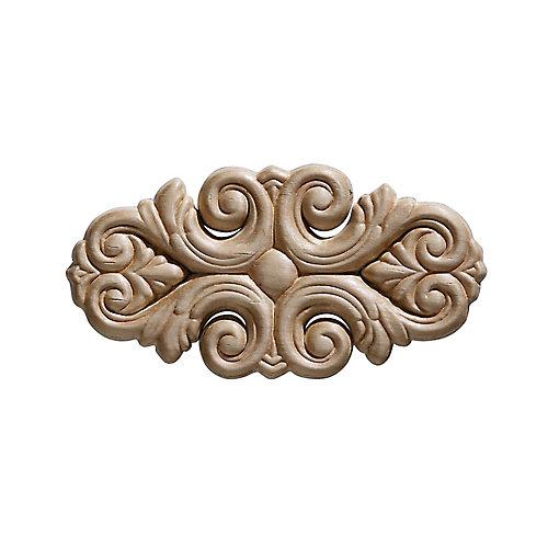 Arabesque en bois blanc, gaufré en acanthe 2-7/16 po x 9 po - 1 pièce par emballage