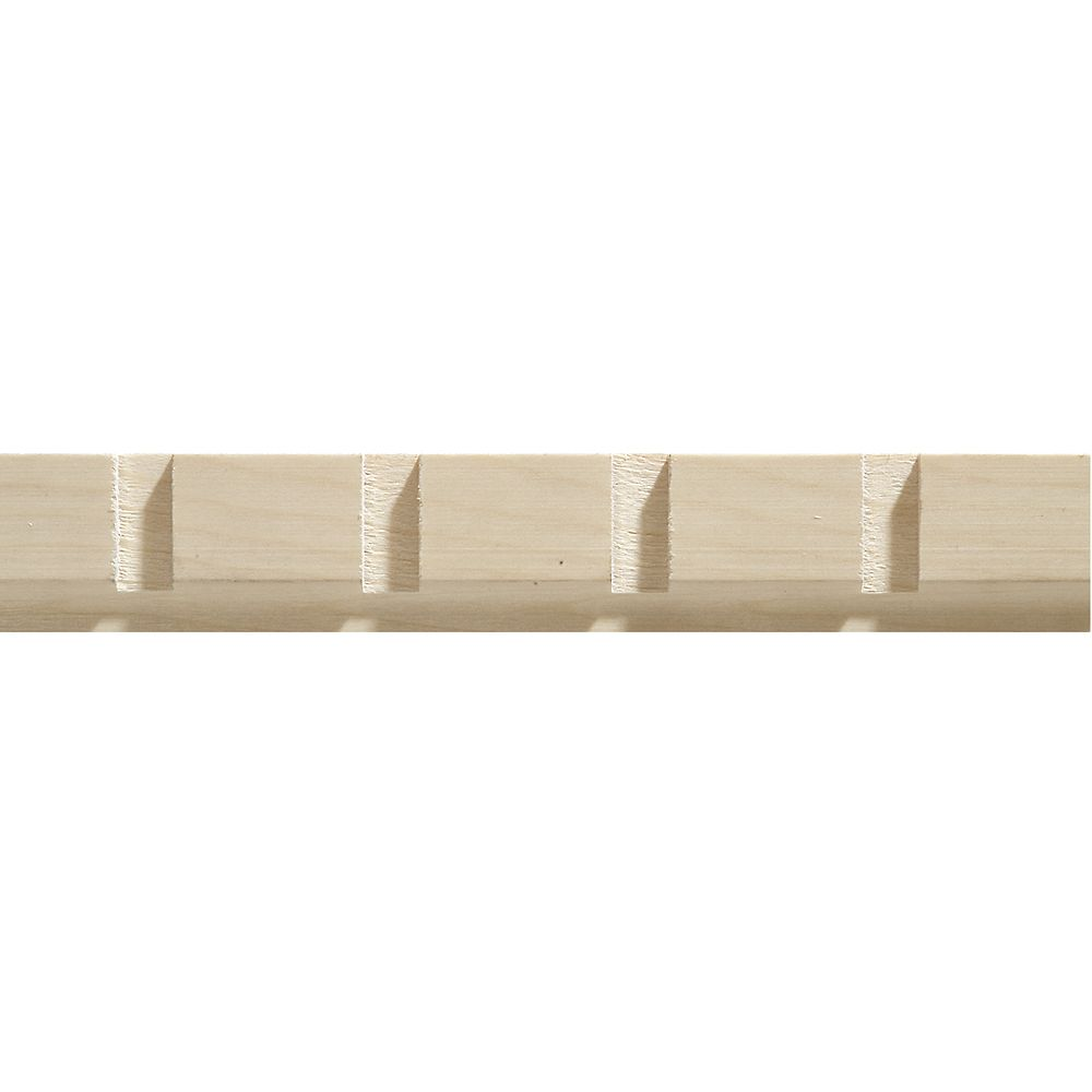 Ornamental Mouldings White Hardwood Dentil Trim Moulding 11/32 x 1-3/16 - Sold Per 8 Foot Piece