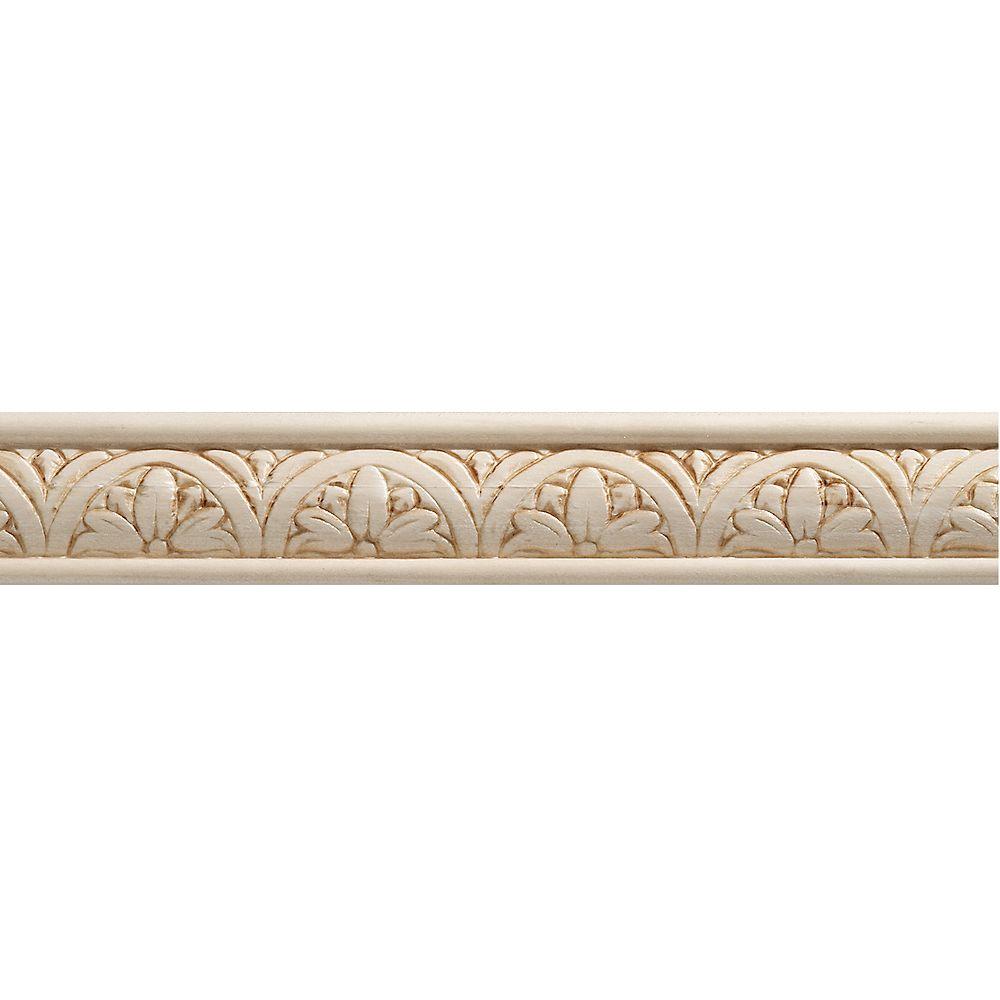 Ornamental Mouldings White Hardwood Embossed Blossom Trim Moulding 5/16 x 1-1/4 - Sold Per 8 Foot Piece