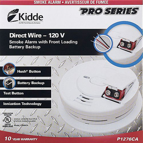 Hardwire Front Load Smoke Alarm with Hush Feature and Battery Back-up