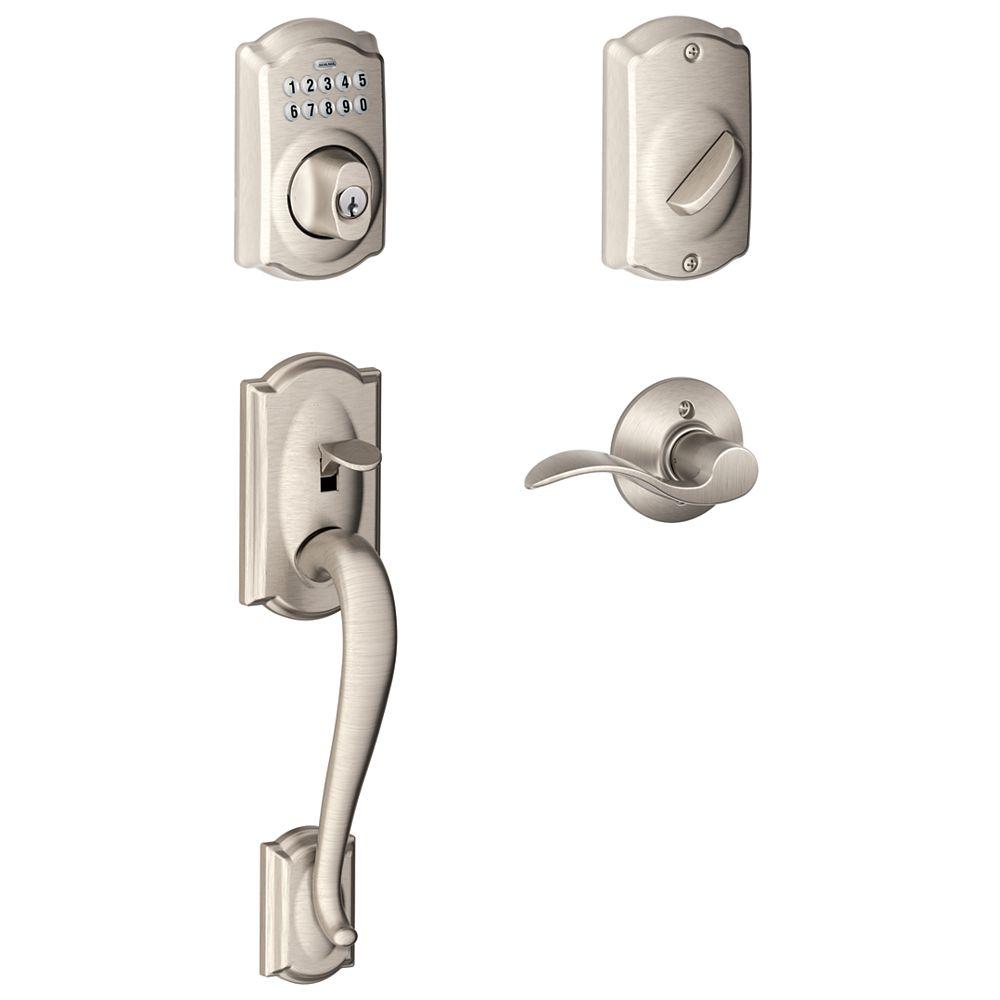 Schlage Camelot Satin Nickel Deadbolt Keyless Entry Keypad Door Handle Set