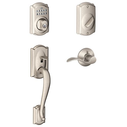 Camelot Satin Nickel Keypad Electronic Deadbolt with Camelot Handleset and Accent Door Lever
