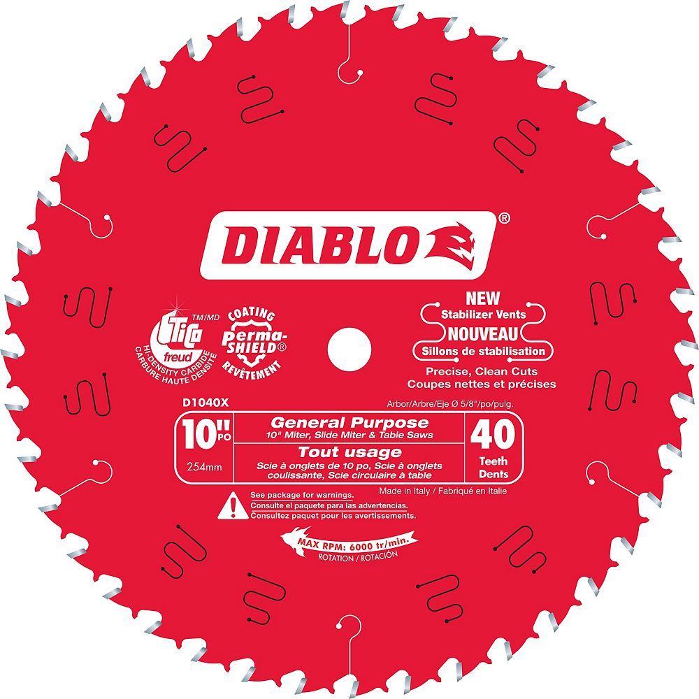 Diablo 10-inch x 40 Tooth Carbide Tipped General Purpose Mitre/Table Saw Blade for Wood Cutting