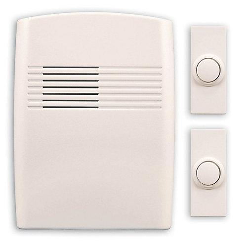 Trousse de carillon de porte blanc cassé à pile sans fil avec 2 boutons-poussoirs