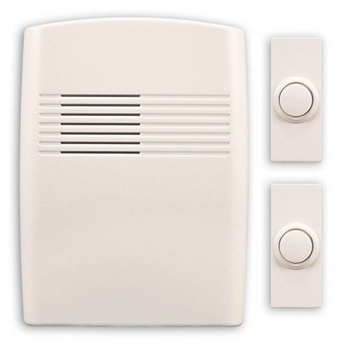 Heath Zenith Wireless Battery Operated Off-White Door Chime Kit With 2 Push Buttons