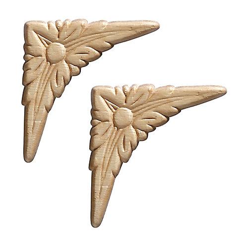 Ornement de petites goutte d'acanthe en relief 3-3/8 X 3-3/8 po - 2 pièces par emballage