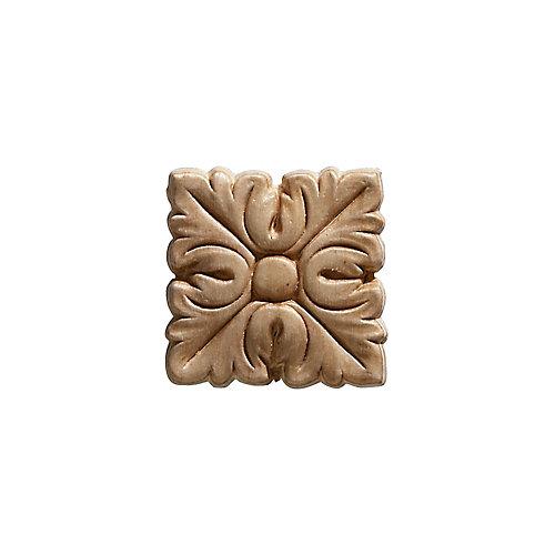 Arabesque en bois blanc, carré, gaufré en acanthe 2 po X 2 po - 4 pièces par emballage