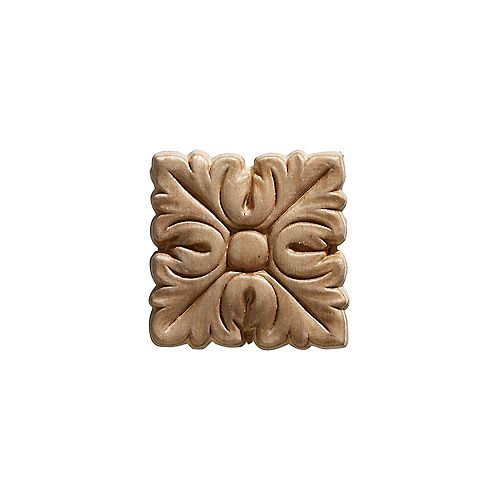 Embossed Square Acanthus Wood Ornament 2 x 2 - 4 Piece