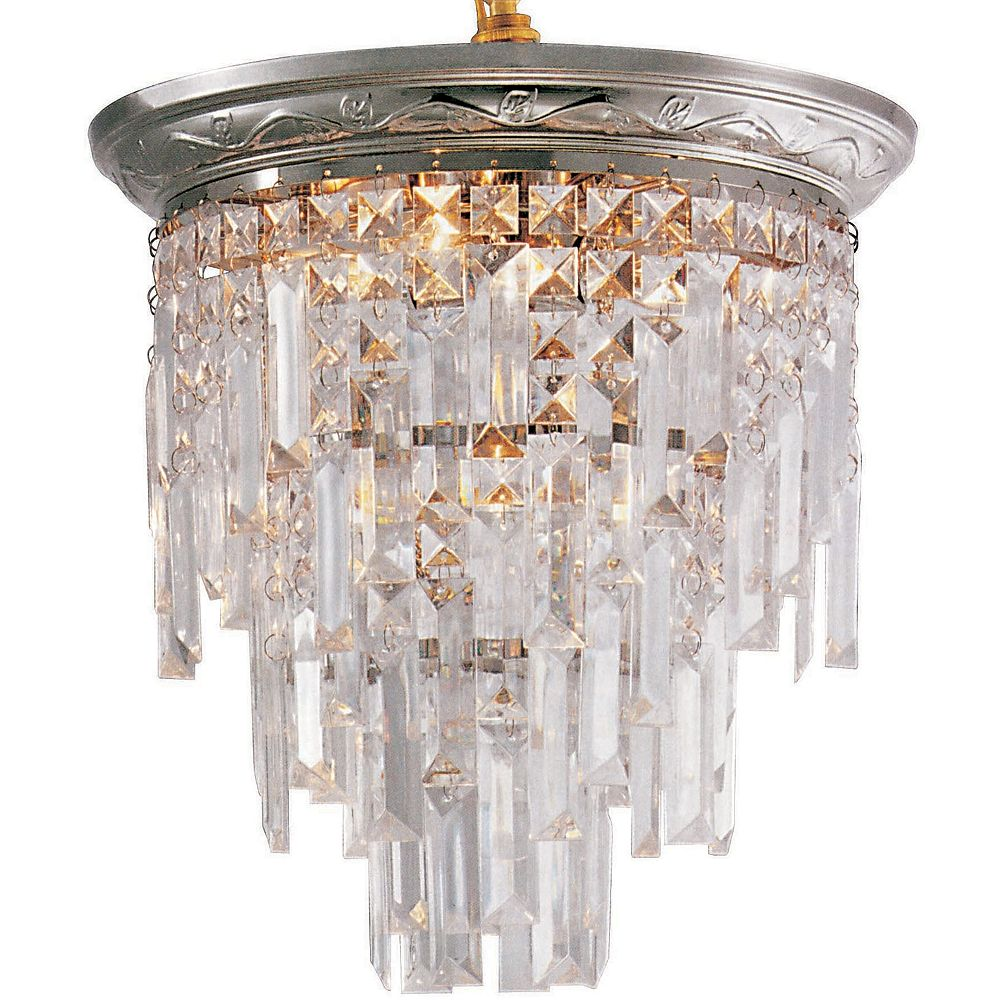 Hampton Bay Escapade 13-inch 5-Light 60W Chrome Flushmount Ceiling Light with Lucite Crystal Accents