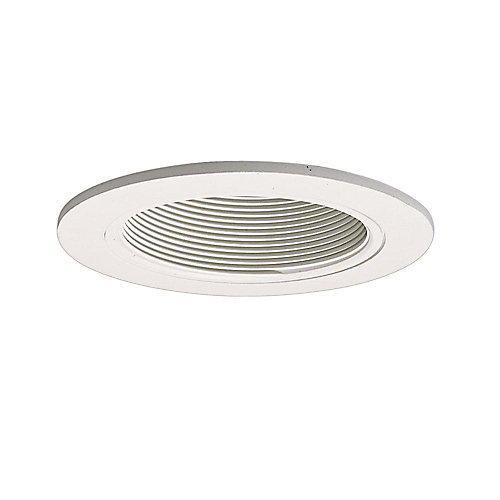 White Baffle with Satin White Trim Ring-4-inch Aperture