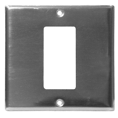 2-Gang Wall Plate 1 GFCI Chrome