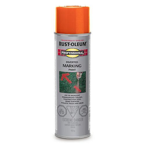 Rust-Oleum Professional Inverted Marking Paint In Red-Orange, 426 G Aerosol