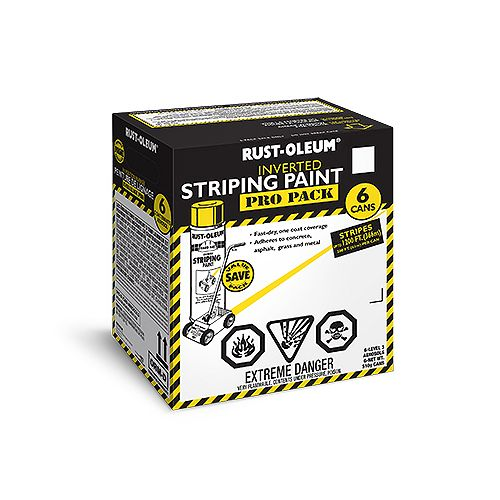 Rust-Oleum Professional Inverted Striping Paint In Yellow (Contractor Pack), 6 X 510 G Aerosol