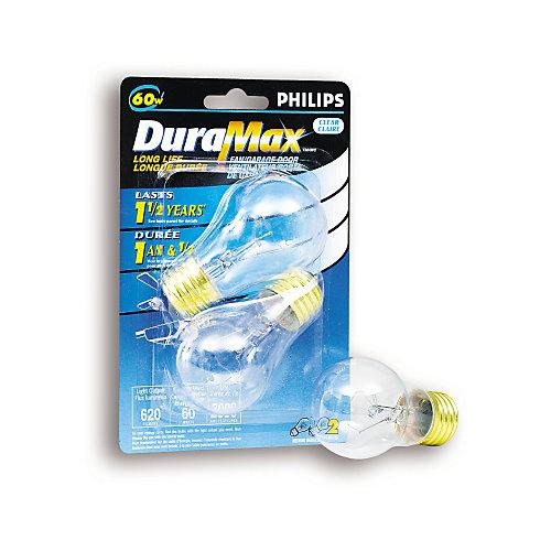 Lampe pour ventilateur/porte de garage, claire, culot moyen, A15 60 W, 2/emballage
