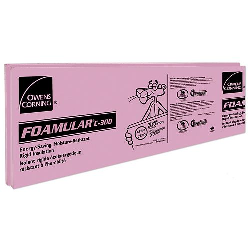 FOAMULAR C-300 Extruded Polystyrene Rigid Insulation - 24-inch x 96-inch x 2-inch Ship Lap Edge