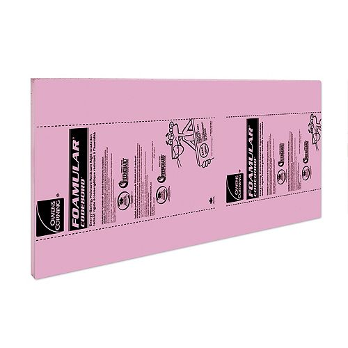 FOAMULAR CodeBord Extruded Polystyrene Rigid Insulation - 48-inch x 96-inch x 1-inch Ship Lap Edge