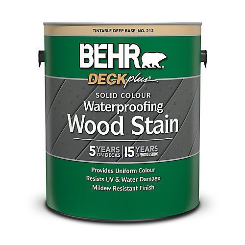 DECKplus Solid Colour Waterproofing Wood Stain - Deep Base No. 213, 3.79 L