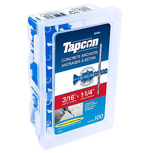 Cheville pour béton 3/16 X 1-1/4 tête plate Tapcon<sup>®</sup>