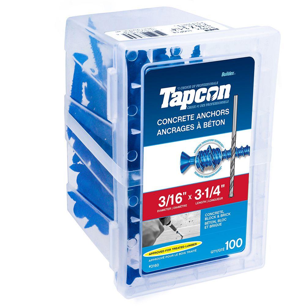 Tapcon Ancres à béton 3/16 pouces x 3-1/4 pouces à tête plate Phillips Drive - paquet de 100