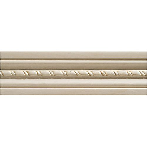 Ornamental Mouldings 1/2-inch x 2 1/8-inch x 7 ft. White Hardwood Embossed Rope Casing Moulding