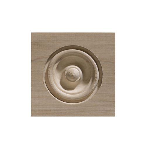 Ornamental Mouldings Bloc de coin en bois blanc dur - 3-1/4 x 3-1/4 po