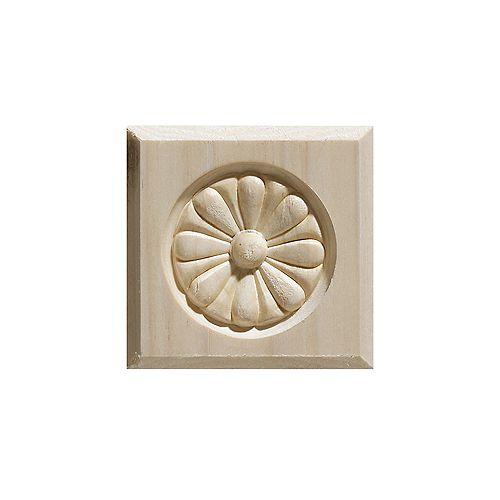 White Hardwood Rosette Bevel Edge Corner Block - 3-1/2 x 3-1/2 Inches
