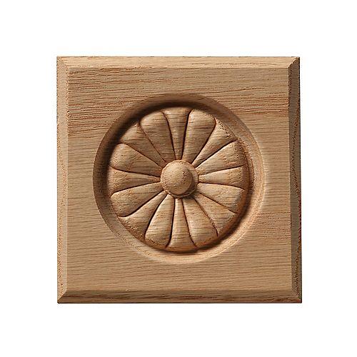 Oak Rosette Bevel Edge Corner Block - 3-1/2 x 3-1/2 Inches