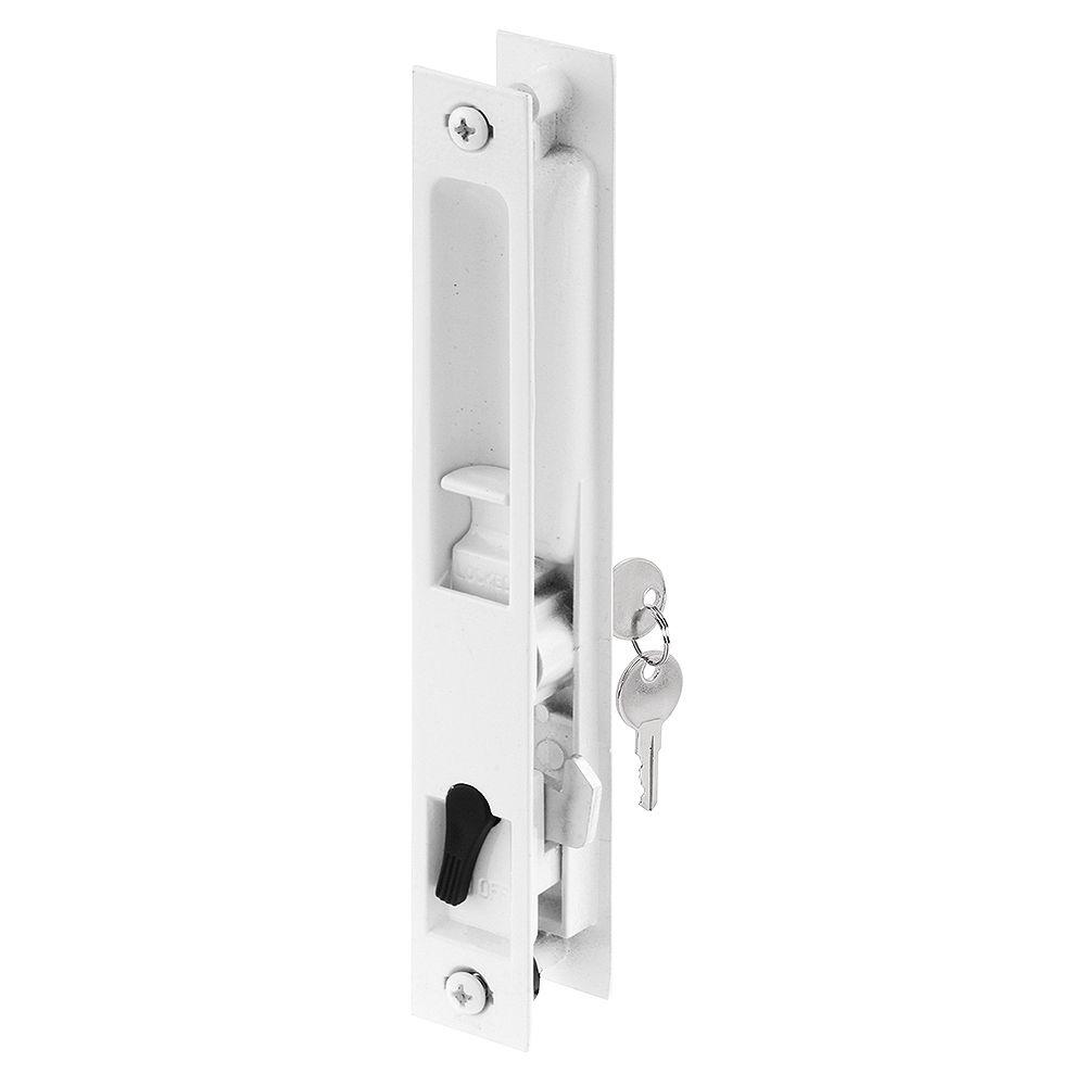 Prime-Line Poignée encastrée à clé pour porte coulissante, moulée sous pression, blanc