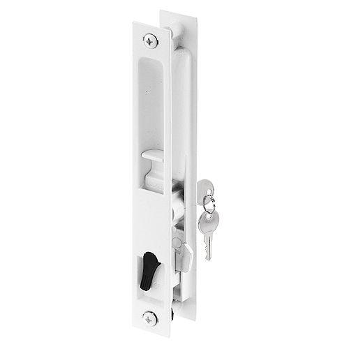 White Diecast Keyed Sliding Door Flush Handle Set