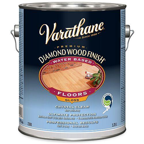 Fini à bois diamant de première qualité pour planchers, à base d'eau, transparent lustré, 3,78 L