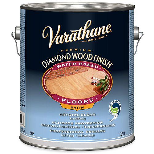 Fini à bois diamant de première qualité pour planchers, à base d'eau, transparent satiné, 3,78 L