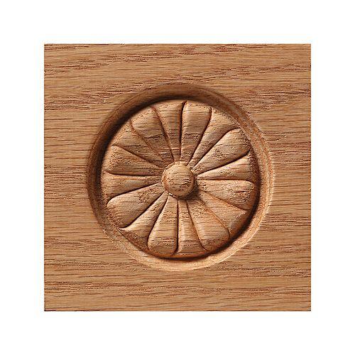 Oak Floral Rosette Corner Block 736CWHW - 3-1/2 inch x 3-1/2 inch x 13/16 inch