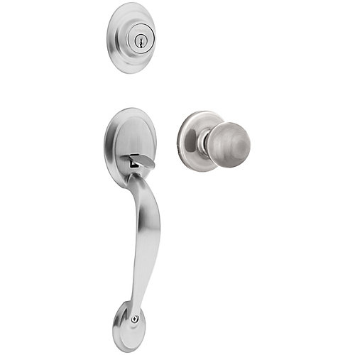 Kingsway Satin Chrome Single Cylinder Deadbolt with Yukon Knob Entry Door Handleset
